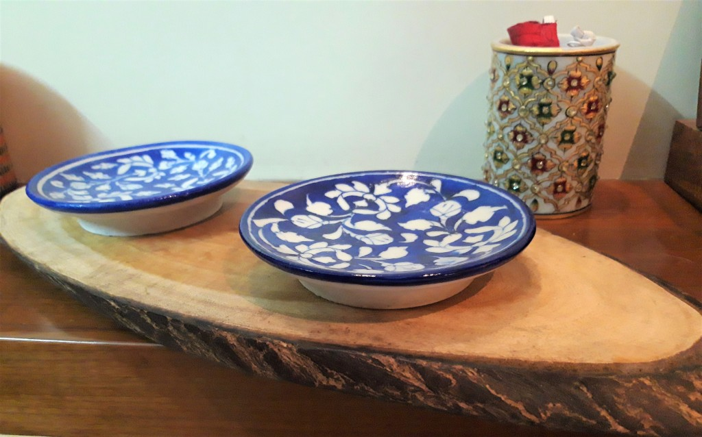 Wooden Platter with the Blue Pottery