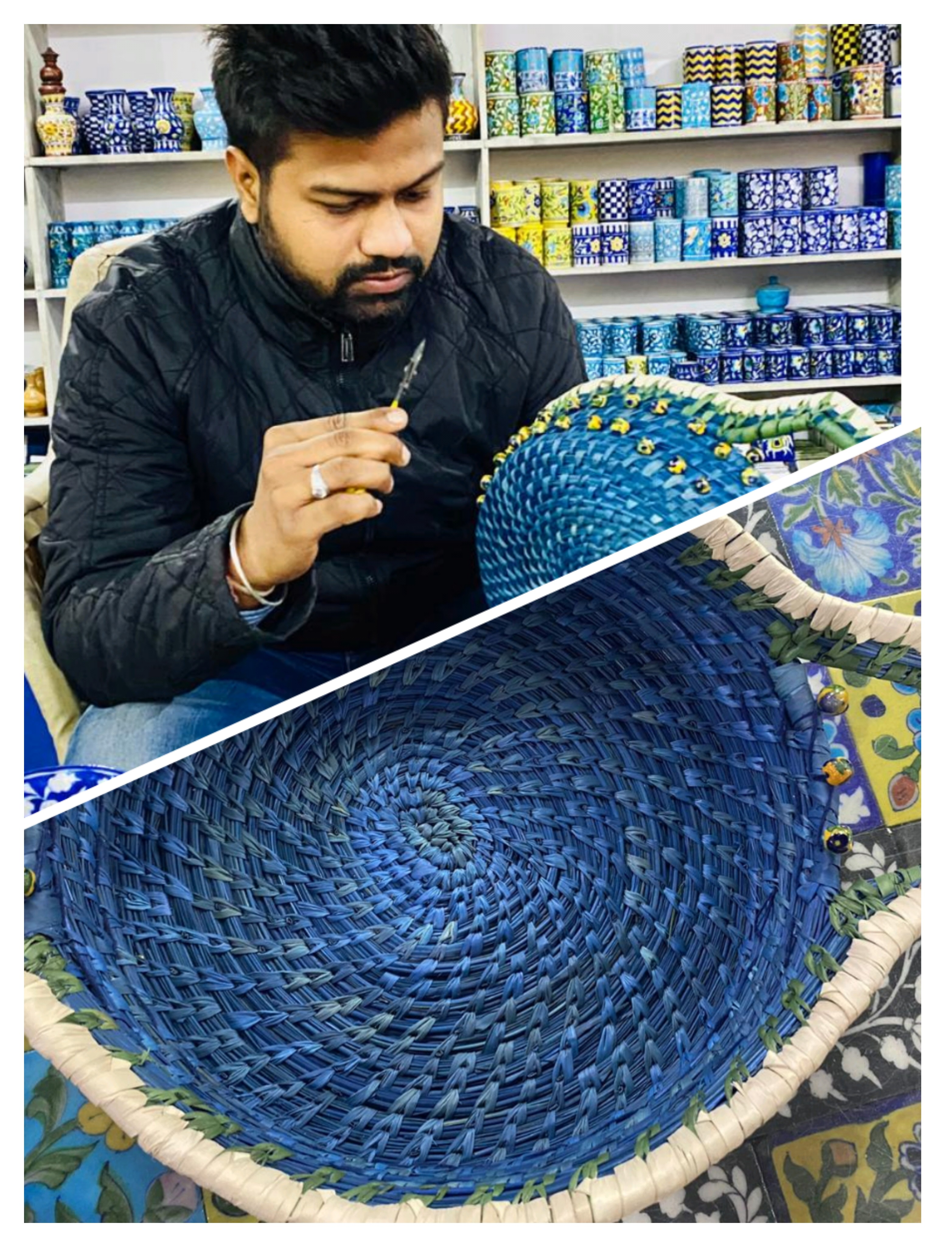 Basketry with Pottery Beads