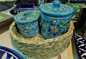 Sabai Baskets with Blue Pottery Jars