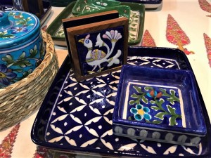 Blue Pottery Plates, Jars and Trays